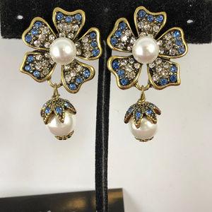 Anthropologie Pearl Blue & Clear Crystal Earrings